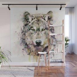 Wolf Head Watercolor Portrait Wall Mural