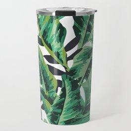 Tropical Glam Banana Leaf Print Travel Mug