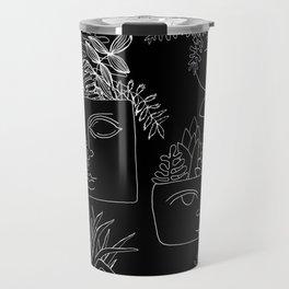 Illustrated Plant Faces in Black Travel Mug