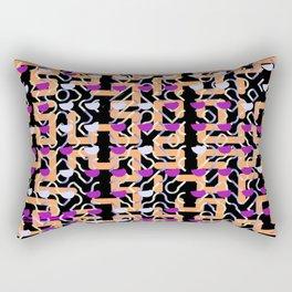 Magenta Dollops Orange Grid Pattern Rectangular Pillow