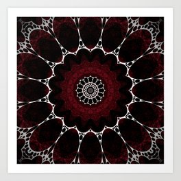Deep Ruby Red Mandala Design Art Print