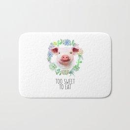 Too Sweet to Eat Vegan Statement Pig Watercolor Bath Mat