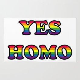 YES HOMO Funny Rainbow Gay Lesbian Rug