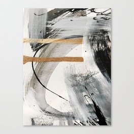 Armor [7]: a bold minimal abstract mixed media piece in gold, black and white Leinwanddruck