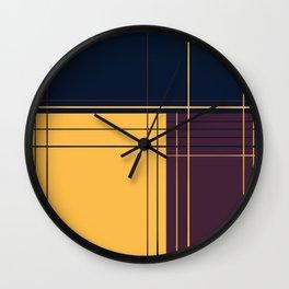 Abstract graphic I Dark blue Purple Yellow Wall Clock