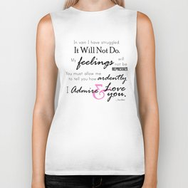 I Admire & Love you - Mr Darcy quote from Pride and Prejudice by Jane Austen Biker Tank