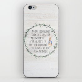 Moms Love w/Weathered wood background iPhone Skin