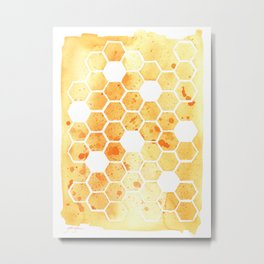Golden Honeycomb Metal Print