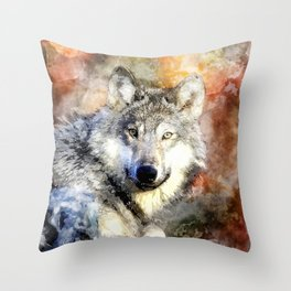 Wolf Animal Wild Nature-watercolor Illustration Throw Pillow