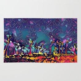 Blue Palm Landscape #2 (Middle) Triptych Rug
