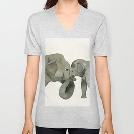 Mom and baby elephant Unisex V-Neck