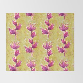 Abstract Watercolor Flower In Purple And Green Throw Blanket