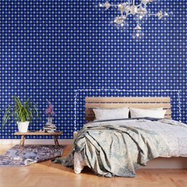 Winter Blue Watercolor Large Dots Pattern Wallpaper