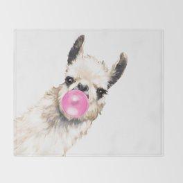 Bubble Gum Sneaky Llama Throw Blanket
