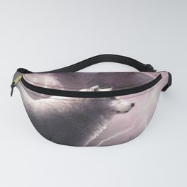 Lightning Wolf Howling At The Moon Fanny Pack