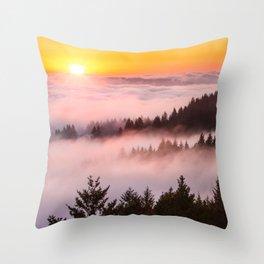 Bolinas Ridge Foggy Sunset Throw Pillow