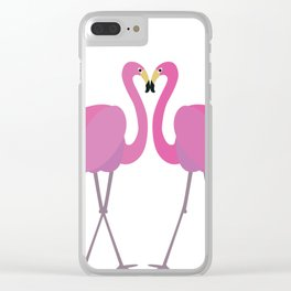 Flamingos in love Clear iPhone Case