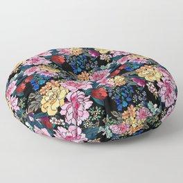 stylish winter flowers bouquets illustration Floor Pillow