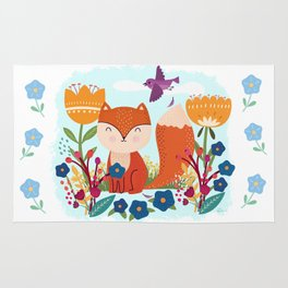 A Fox In The Flowers With A Flying Feathered Friend Rug