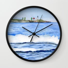 Ocean waves with Lighthouse Watercolor Art Wall Clock
