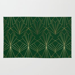 Art Deco in Gold & Green Rug