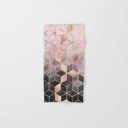 Pink And Grey Gradient Cubes Hand & Bath Towel
