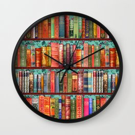 Vintage Books / Christmas bookshelf & holly wallpaper / holidays, holly, bookworm,  bibliophile Wall Clock