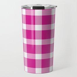 Plaid Hot Pink Travel Mug