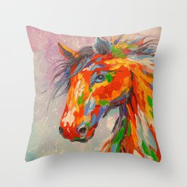 A COLORFUL HORSE Throw Pillow