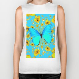 BLUE BUTTERFLY YELLOW AMARYLLIS PATTERNED ART Biker Tank