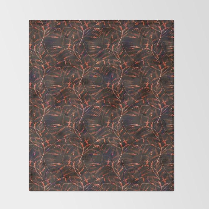 Orange sprigs on a dark background. Throw Blanket