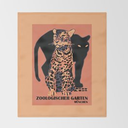 Retro vintage Munich Zoo big cats Throw Blanket