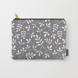 Assorted Leaf Silhouettes Cream on Grey Ptn Carry-All Pouch