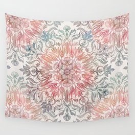 Autumn Spice Mandala in Coral, Cream and Rose Wall Tapestry