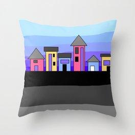Pastel Evening Houses Throw Pillow