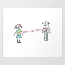 Two Robots, Stuck Together with Gum Art Print