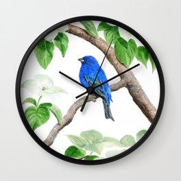 Royal Blue-Indigo Bunting in the Dogwoods by Teresa Thompson Wall Clock