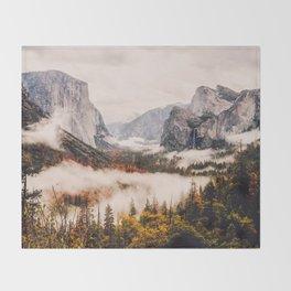 Amazing Yosemite California Forest Waterfall Canyon Throw Blanket
