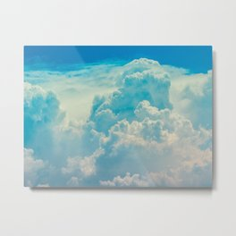 White Cloud In A Blue Sky Heavenly Fluffy Clouds Metal Print
