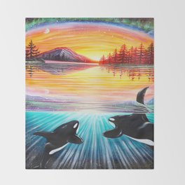 Orca Love Throw Blanket
