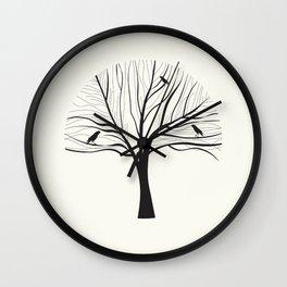 Black Birds in a Winter Tree Wall Clock