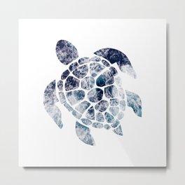 Sea Turtle - Blue Ocean Waves Metal Print