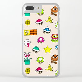 Mario pattern Clear iPhone Case