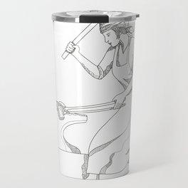 Female Blacksmith at Work Doodle Art Travel Mug