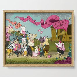 Cute animals parade, inspired by Orwell's Animal Farm but sweet Serving Tray
