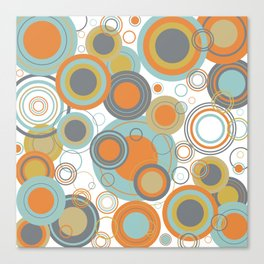 Retro Mid Century Modern Circles Geometric Bubbles Pattern Canvas Print