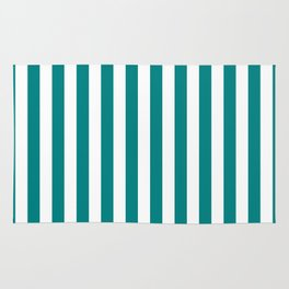 Vertical Stripes (Teal/White) Rug