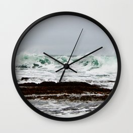 Green Wave Breaking Wall Clock