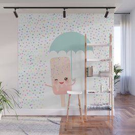 pink ice cream, ice lolly holding an umbrella. Kawaii with pink cheeks and winking eyes Wall Mural