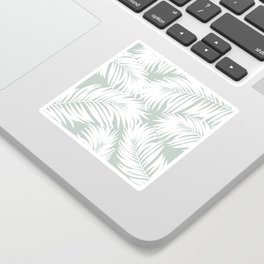 Palm Tree Fronds White on Rainwashed Maui Hawaii Tropical Graphic Design Sticker